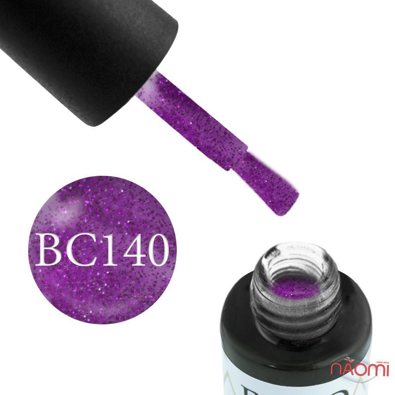 Гель-лак Naomi Boho Chic BC 140 розовые блестки на сиренево-розовом фоне, 6 мл
