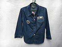 Рубашка джинсовая для мальчика от 3 до 6 лет синего цвета