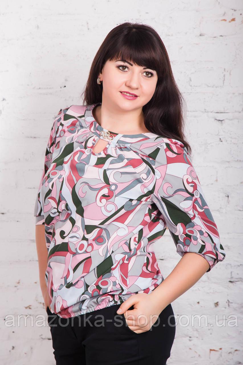 Летняя женская блуза на резинке больших размеров весна-лето 2018 - Штрихи - (код бл-171)