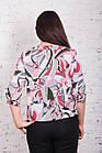 Летняя женская блуза на резинке больших размеров весна-лето 2018 - Штрихи - (код бл-171), фото 5