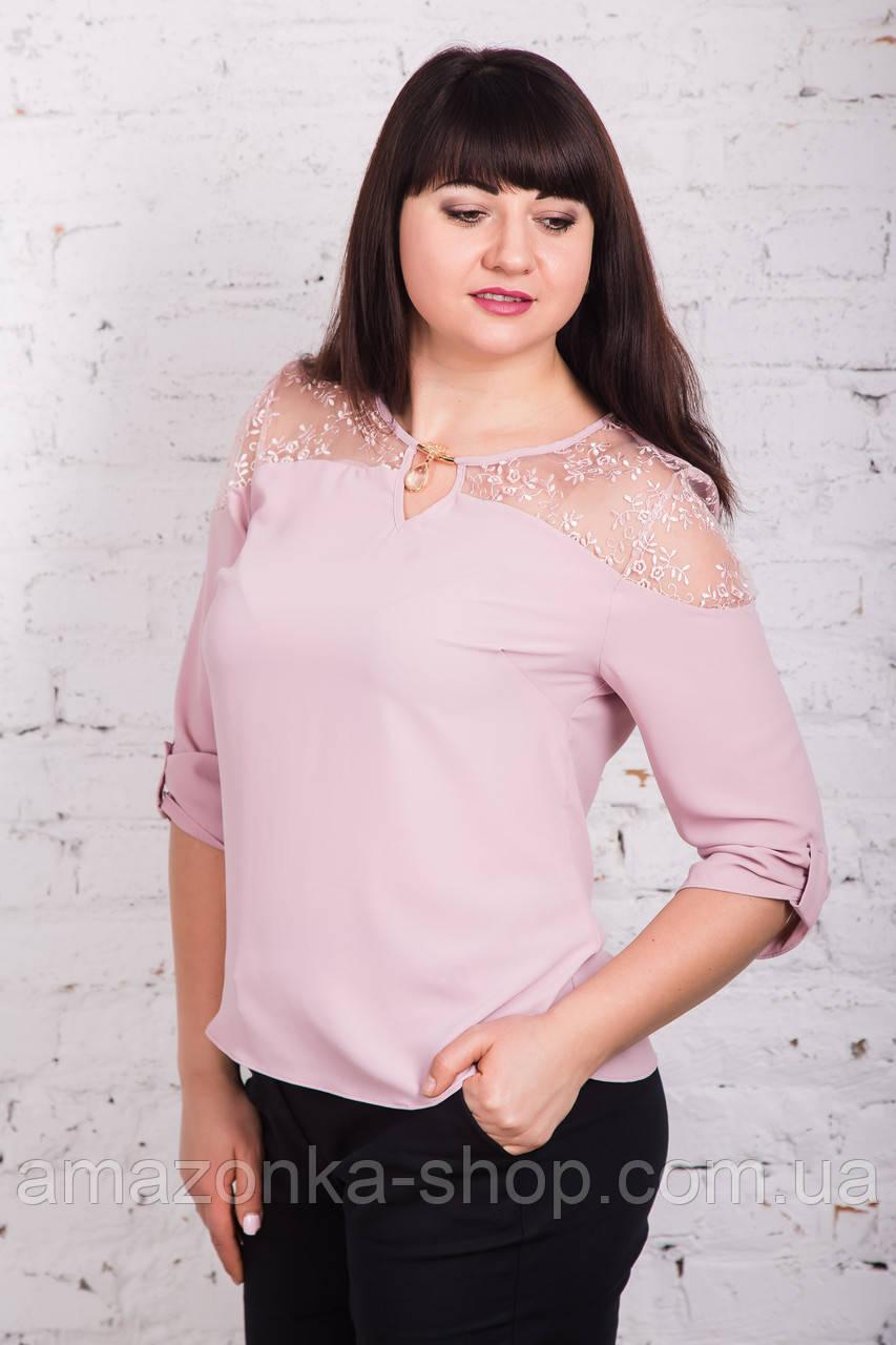 Ажурная женская блуза больших размеров весна-лето 2018 - Нежность - (код бл-175)