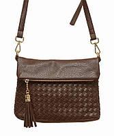 Женская плетеная сумка через плечо 5511(коричневая)