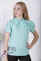 Блузка-рубашка с воротником-стойка из шифона. Размеры 42, 44, 46, 48, разные цвета.