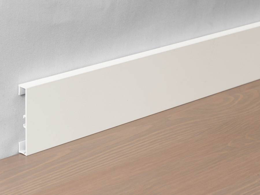 Металлический плинтус Profilpas Metal Line 89/4 крашеный алюминий, матовый белый RAL9010 10*40*2000 мм.