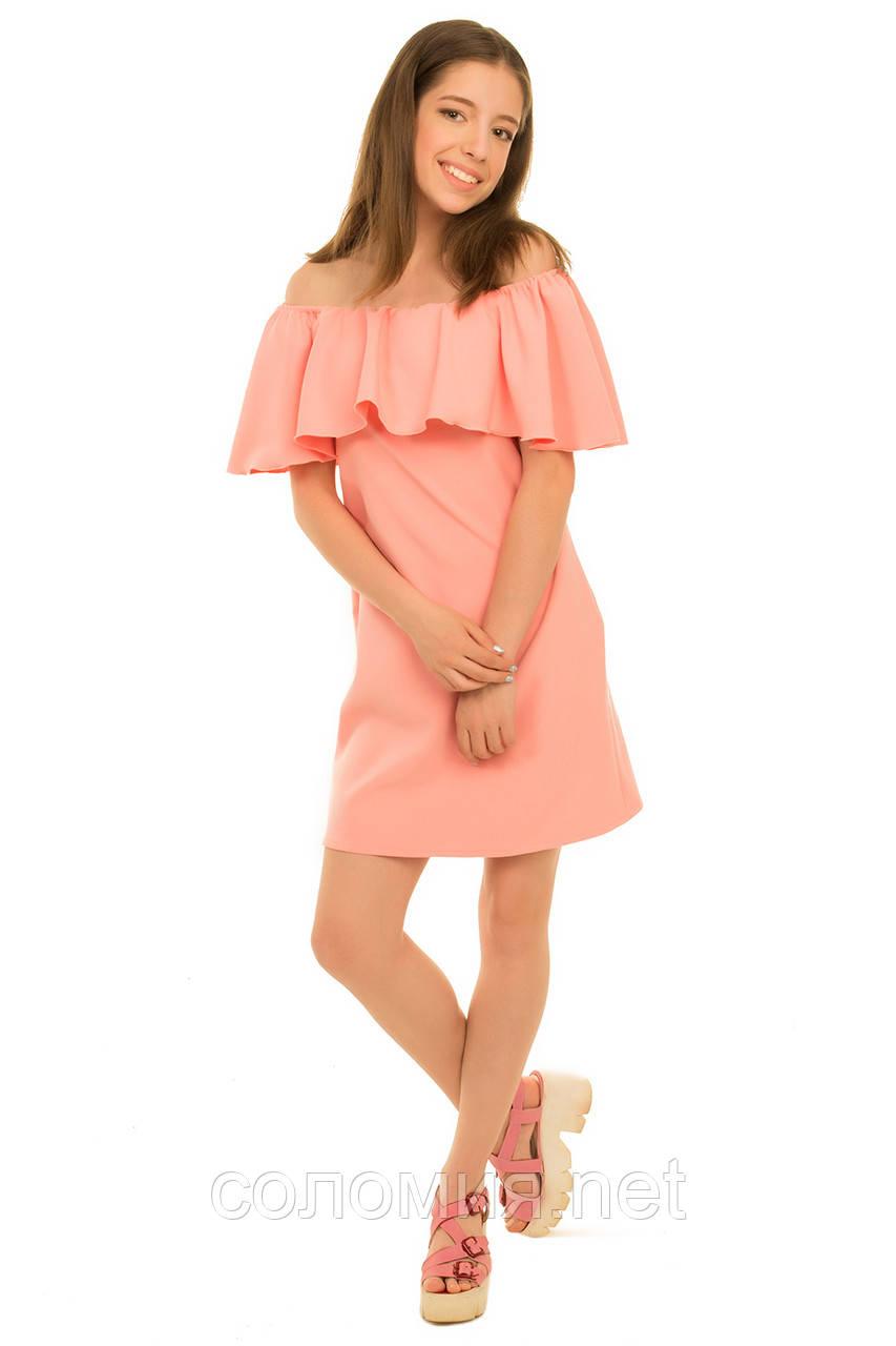 Очаровательное стильное платье нежного персикового цвета 134-152р