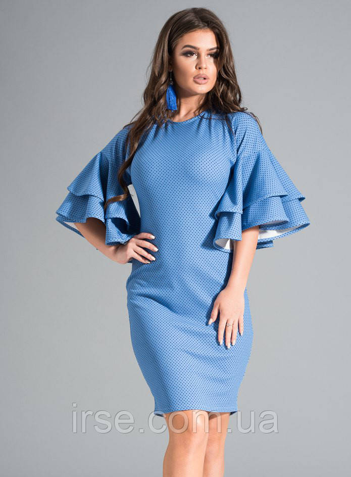 2ae15b8fabc Женское платье голубого цвета с воланами на рукавах. Модель 17614 - Irse в  Одессе