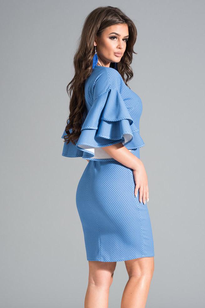 2ff37b81d3565a0 Купить Женское платье голубого цвета с воланами на рукавах. Модель ...