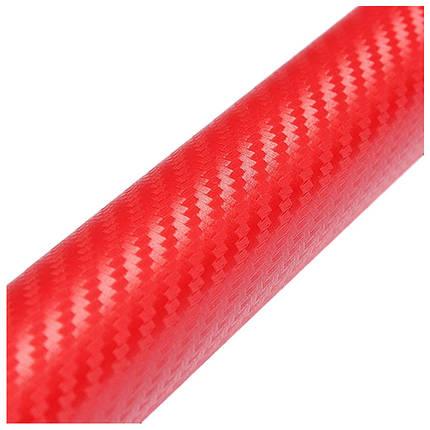 Карбонова плівка 3D рулон 10х20 см ЧЕРВОНА, фото 2