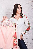 Женская блузка с вышивкой весна-лето 2018 - Розы - (арт бл-161), фото 1