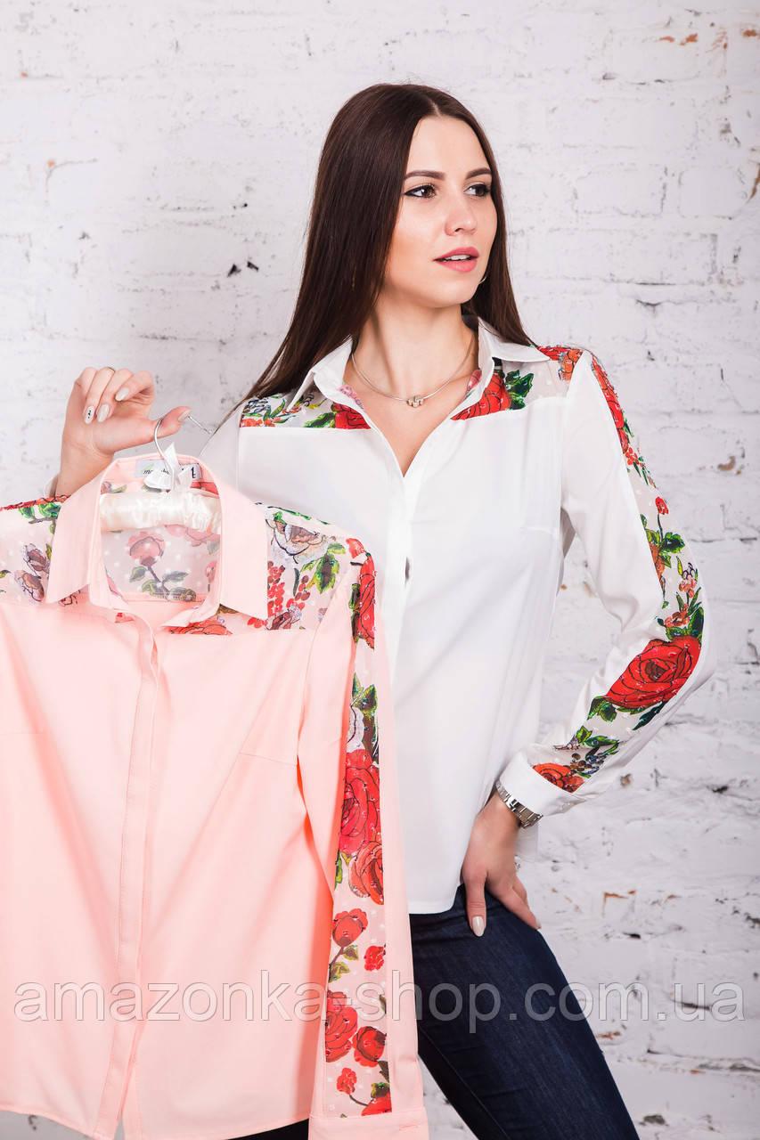 Женская блузка с вышивкой весна-лето 2018 - Розы - (арт бл-161)