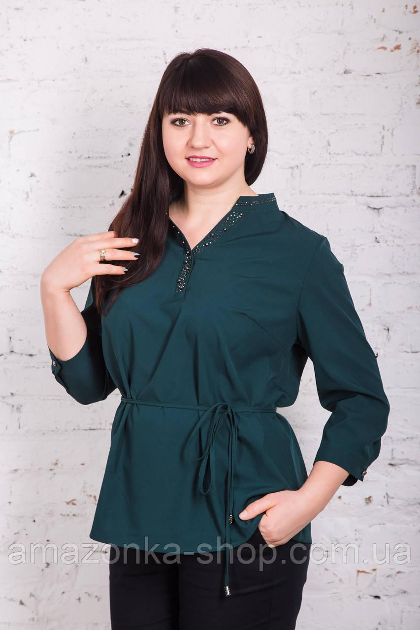 Легкая женская блуза больших размеров весна-лето 2018 - Горошек - (арт бл-166)