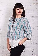 Нежная женская блуза больших размеров весна-лето 2018 - Штрихи - (арт бл-170)