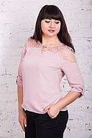 Ажурная женская блуза больших размеров весна-лето 2018 - Нежность - (арт бл-175), фото 1
