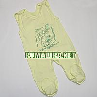 Ползунки высокие с застежкой на плечах р. 62 демисезонные ткань ИНТЕРЛОК 100% хлопок ТМ Авекс 3143 Желтый Б
