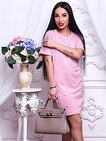 Женское стильное прямое платье-футболка с жемчугом (2 цвета), фото 1