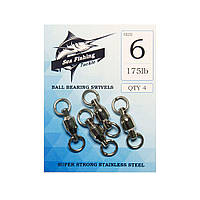 Вертлюжок Sea Fishing Ball Bearing Swivels 175lb 4шт