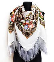 Народный платок Людмила, 135х135 см, белый