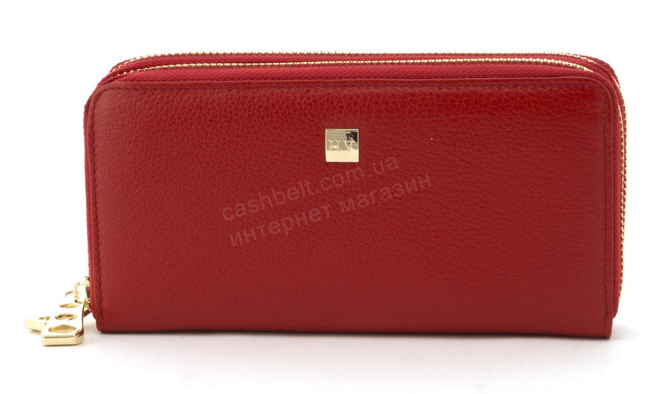 Кожаный прочный женский кошелек барсетка на две молнии SALFEITE art. 2547S красный