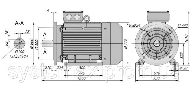 АИР355L4 / АИР 355 L4 / IM 2081 / IM2081 / комб / комбинированный / фланцевый / 250 кВт / 1500 об/мин