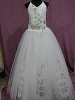 Платье детское нарядное на 7-12 лет белое с золотым