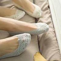Кружевные тапочки-носочки серые