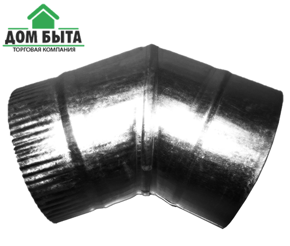 Угол 45 градусов из оцинкованного металла с диаметром 120