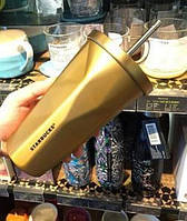 Стакан с крышкой и трубочкой Starbucks Gold