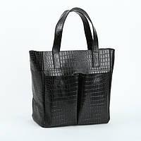Кожаная сумка модель 2 черный кайман