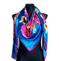 Шелковый платок Сицилия, 135х135 см - синий