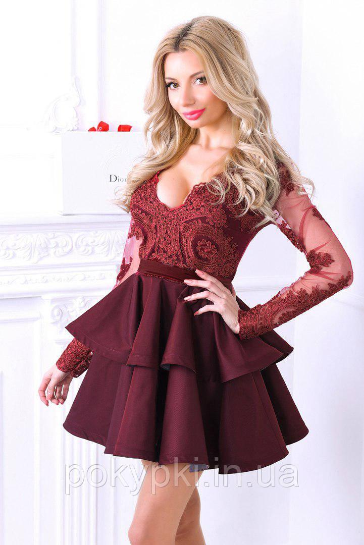 f28cd66cc156 Нарядное платье на выпускной верх сетка с вышивкой и юбка солнцеклеш  бордовое -