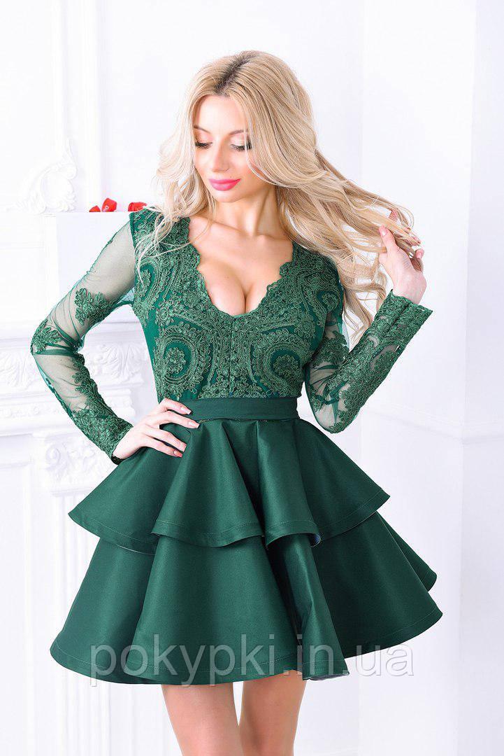 ecd07442404 Шикарное платье на выпускной короткое изумрудного цвета -