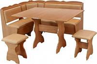 Кухонный уголок Лорд с простым столом,с раскладным столом и двумя табуретами, мягкий уголок на кухню