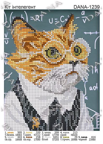 Схема для вышивки Кот интеллигент