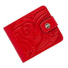 Гаманець жіночий шкіряний з кишенею для монет «Tattoo Red» (Арт Кажан). Колір червоний