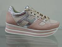 Модные женские кроссовки на платформе натуральная кожа, фото 1