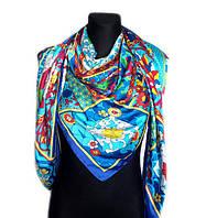 Шелковый платок Сицилия, 135х135 см, голубой