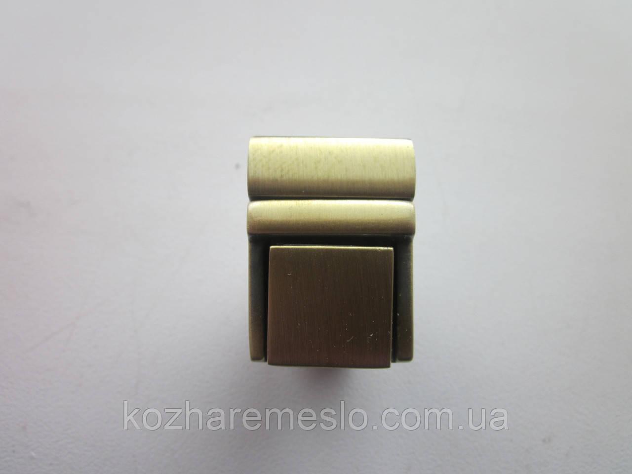 Замок клавишный, для портфеля, барсетки 20 х 27 мм антик