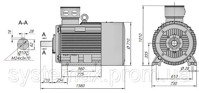 АИР355М2 / АИР 355 М2 / IM 1081 / IM1081   лапы / лаповый / на лапах / 315 кВт / 3000 об/мин