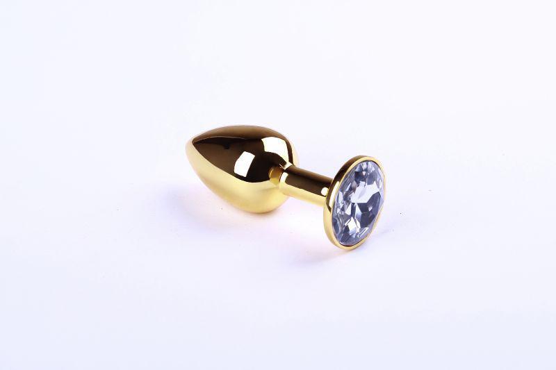 Золотая пробка с прозрачным камнем, размер M + Чехол