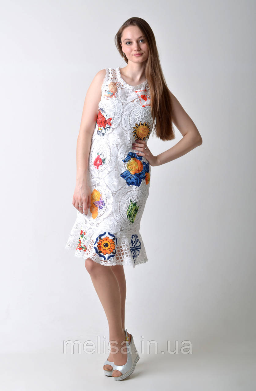bc89b69b668 Белое нарядное брендовое платье DG - Интернет магазин женской одежды Melisa  в Харькове
