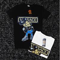 Женская брендовая футболка Versace, белая и черная