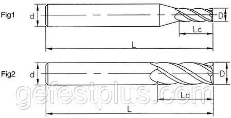 Ø1*3*4*50-3FA Фреза твердосплавная концевая для обработки алюминия (45HRC), фото 2