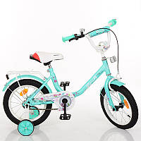 Детский двухколесный велосипед для девочки PROFI 14 дюймов цвет мяты Flower L1484