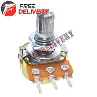 Резистор переменный, потенциометр WH148 B1K линейный 15мм 1кОм