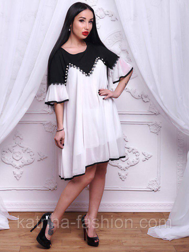 f69e0db06df Женское черно-белое шифоновое платье свободного кроя  продажа
