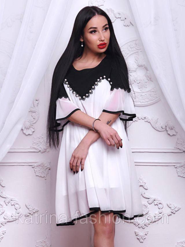 d188ad5a599 Женское черно-белое шифоновое платье свободного кроя
