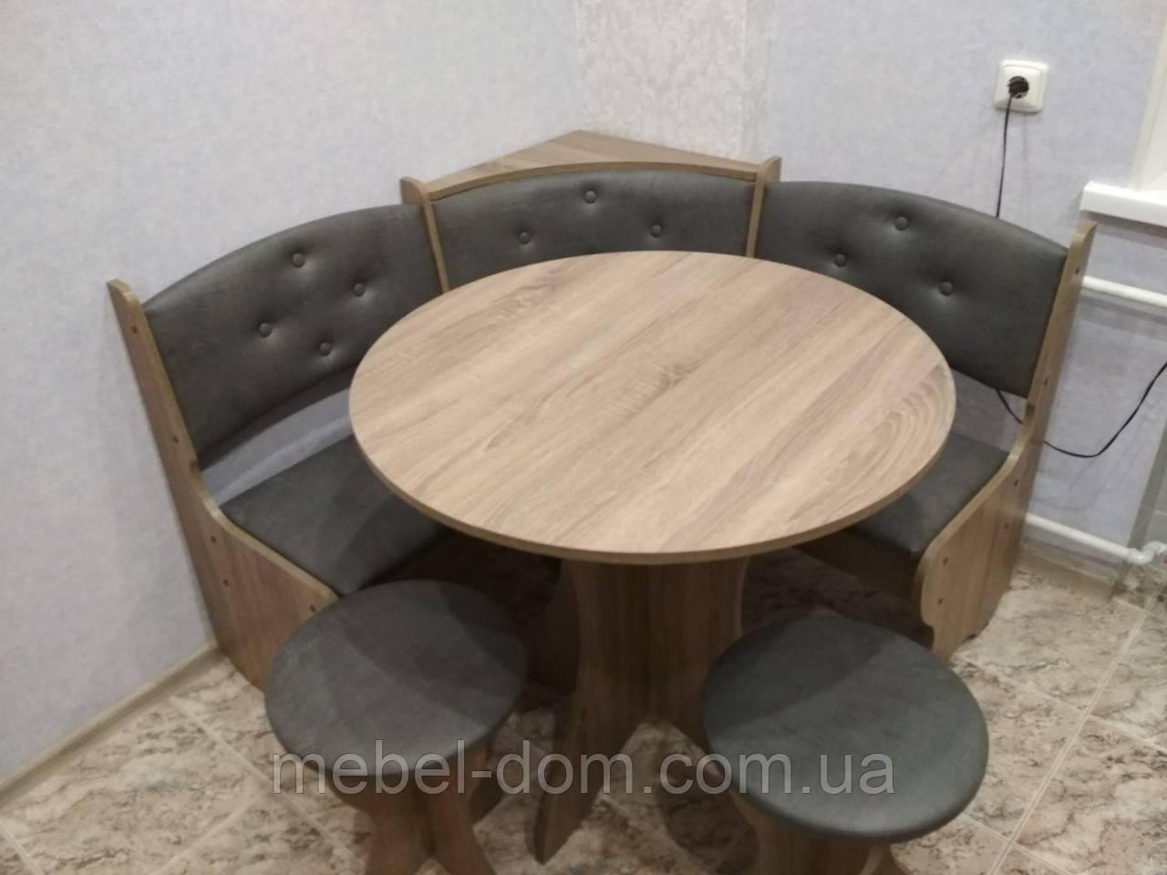 Кухонный мягкий уголок Боярин с круглым столом и двумя табуретами