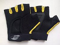 Перчатки вело - и  для фитнеса сетка+ махра (М, желтые, Пакистан).