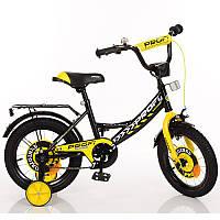 Дитячий двоколісний велосипед для хлопчика PROFI 14 дюймів чорний з жовтим, Y1443 Original boy