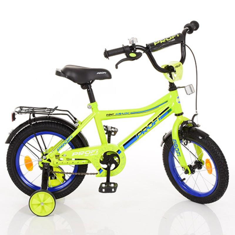 Детский двухколесный велосипед для мальчика PROFI 14 дюймов салатовый, Y14102 Top Grade